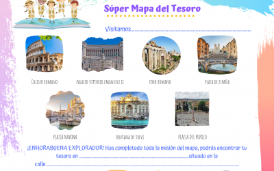 Mapa del tesoro para visitar ciudades con los niños